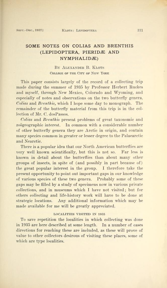 Klots (1937) J. N. Y. Ent. Soc. 45(3/4): 311-333