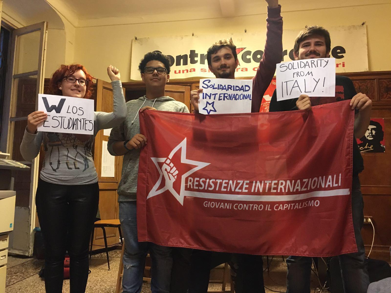 Genova 26 ottobre solidarietà con gli studenti spagnoli